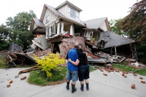 Distraught couple view their shattered house in Christchurch